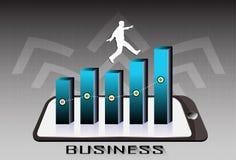 A seta ascendente e os povos saltam no gráfico Fotografia de Stock