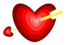 Seta através do coração Fotografia de Stock Royalty Free