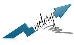 Seta azul com palavra da vitória ilustração stock