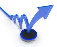 A seta azul obtém um impulso de um trampolim ilustração stock