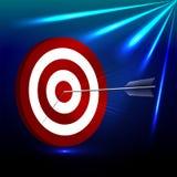 A seta bate o alvo com as luzes no fundo azul 3d ilustração, perspectiv ilustração stock