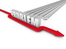 Seta bem sucedida vermelha que supera a barreira da palavra do PROBLEMA Imagens de Stock Royalty Free