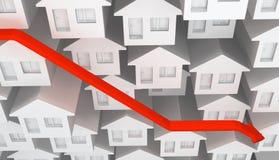 Seta branca da diminuição das casas ilustração do vetor