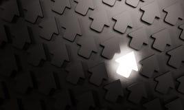 Seta brilhante de incandescência no grupo de seta preta, conceito abstrato, 3d rendido ilustração do vetor