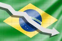 A seta cai no fundo da bandeira de Brasil ilustração stock
