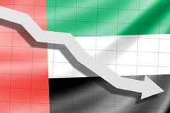 A seta cai no fundo da bandeira de Emiratos Árabes Unidos ilustração stock