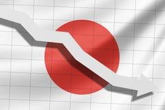 A seta cai no fundo da bandeira de Japão ilustração royalty free