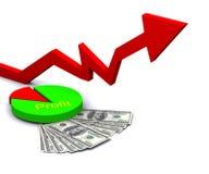 Seta com gráfico e lucro da torta Foto de Stock Royalty Free