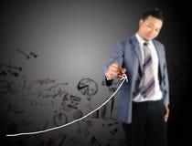 Seta crescente do desenho do homem de negócio Imagem de Stock