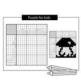 Seta Crucigrama japonés blanco y negro con respuesta stock de ilustración
