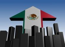 Seta da skyline e da bandeira mexicana ilustração stock
