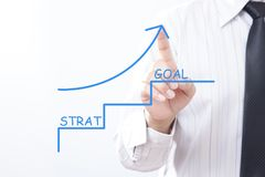 Seta da torneira do homem de negócios que aponta acima com começo e objetivo, negócio Foto de Stock Royalty Free