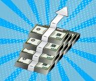 Seta de aumentação que mostra o crescimento financeiro, o símbolo da riqueza, o desenvolvimento de negócios e a acumulação de din Imagem de Stock