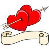 Seta de dois corações com rolo Fotografia de Stock