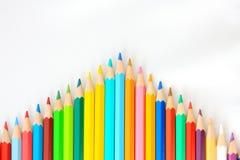 Seta de madeira do lápis da cor Fotografia de Stock