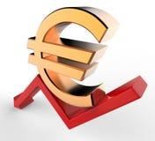 Seta descendente do crescimento com euro- sinal do símbolo 3d Conceito da retirada econômica ilustração 3D Imagem de Stock Royalty Free