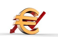 Seta descendente do crescimento com euro- sinal do símbolo 3d Conceito da retirada econômica ilustração 3D Foto de Stock