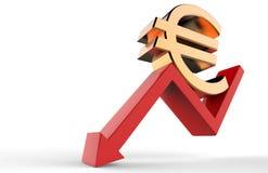 Seta descendente do crescimento com euro- sinal do símbolo 3d Conceito da retirada econômica ilustração 3D Imagem de Stock
