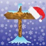 Seta do inverno e chapéu de Santa Foto de Stock