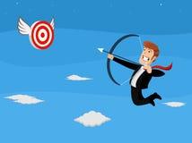 Seta do tiro do homem de negócios do voo no alvo Imagem de Stock