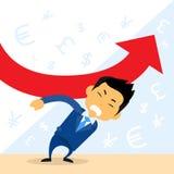 Seta do vermelho de Hold Financial Graph do homem de negócios Imagem de Stock