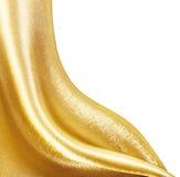 Seta dorata del tessuto Immagini Stock