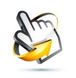 Seta em torno do cursor da mão Foto de Stock