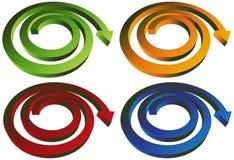 Seta espiral isométrica - jogo de 4 Fotografia de Stock Royalty Free