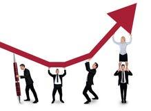 Seta isolada do impulso da equipe do negócio acima Fotos de Stock
