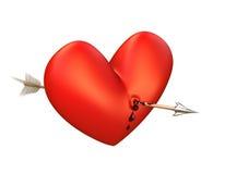 Seta no coração de sangramento, acima da vista. Imagens de Stock Royalty Free