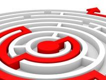 Seta no labirinto Conceito direito da solução Imagem de Stock Royalty Free