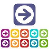 Seta nos ícones do círculo ajustados ilustração do vetor