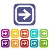 Seta nos ícones quadrados ajustados ilustração do vetor