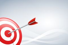 Seta que bate um dardo do alvo no fundo da forma de onda Conceito para o mercado de alvo, a tecnologia, a conexão de rede e o arr Fotos de Stock