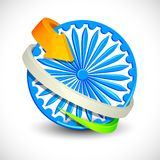 Seta Tricolor em torno de Ashoka Chakra Foto de Stock Royalty Free