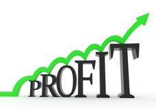 A seta verde salta no texto do lucro ilustração stock