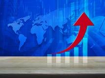 Seta vermelha com gráfico na tabela de madeira sobre o mapa do mundo com financi Imagem de Stock