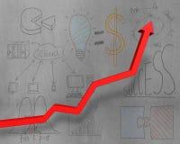 A seta vermelha crescente com negócio rabisca na parede Fotografia de Stock Royalty Free