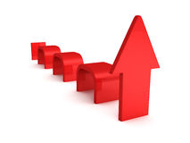 Seta vermelha crescente da onda no branco Foto de Stock Royalty Free