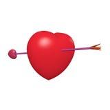 Seta vermelha do coração e do cupid imagem de stock royalty free