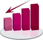 Seta vermelha do plinth das vendas para baixo Foto de Stock