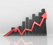 Seta vermelha infographic - crescimento ilustração royalty free