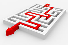 Seta vermelha que atravessa o labirinto. ilustração do vetor