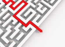 Seta vermelha que conduz através de um labirinto ilustração royalty free