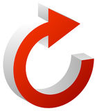 Seta vermelha sentido horário seta para a frente Ícone circular da seta ilustração royalty free