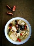 Seta y sopa de verduras asiáticas del estilo Foto de archivo libre de regalías