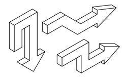 setas Ícones isométricos de Outine Foto de Stock Royalty Free