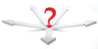 setas 3D e ponto de interrogação Imagem de Stock