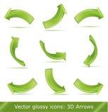 Setas 3d verdes ajustadas Imagens de Stock