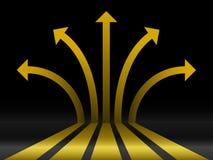 Setas abstratas do ouro 3d ilustração royalty free